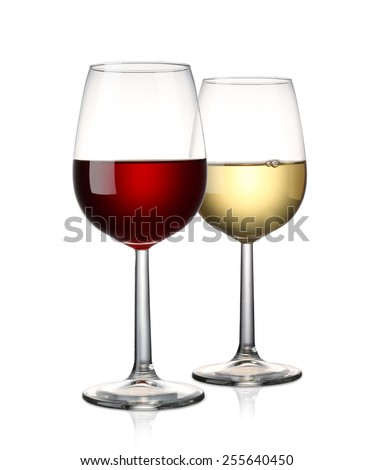 Red wine and White wine isolated on white - stock photo