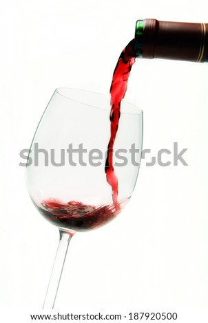 Red wine being poured from a bottle into a glass.
