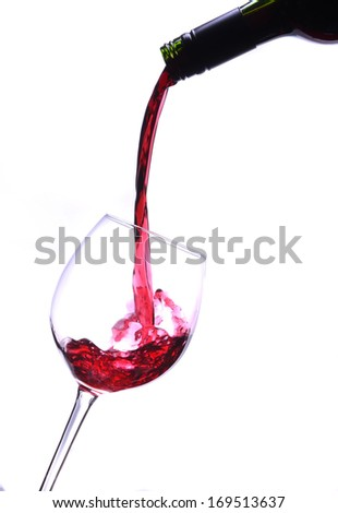 red wine being poured from bottle to glass