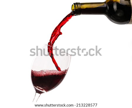 Red wine being poured into glass isolated with splash on the white