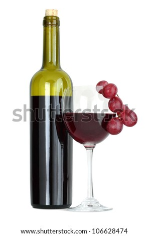 Red wine bottle and grape isolated on white background