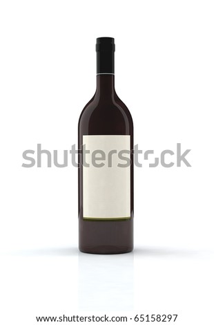 red wine bottle 3d illustration with blank label - stock photo