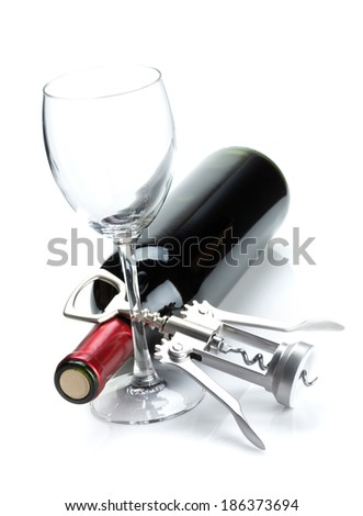 Red wine bottle, glass and corkscrew. Isolated on white background - stock photo