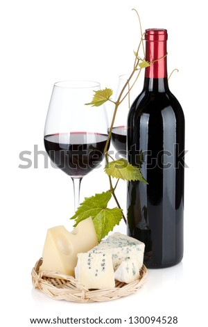 Red wine bottle, glasses and cheese. Isolated on white background - stock photo