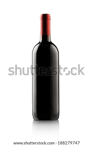 Red wine bottle isolated against white background with blank copy space.