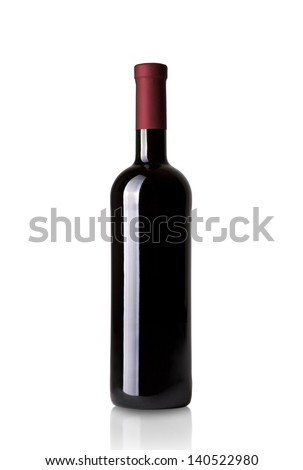 red wine bottle isolated on white background - stock photo