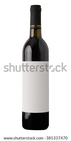 Red wine bottle isolated on white background with clippingpath and blank label