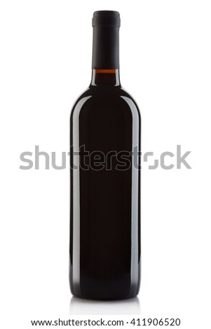 Red wine bottle isolated on white, clipping path included - stock photo