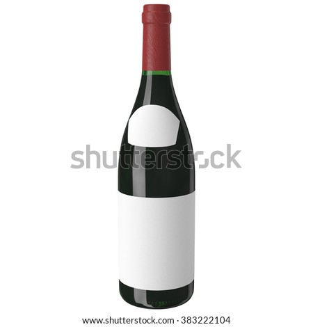 red wine bottle isolated with blank label for your text or logo bottle red wine