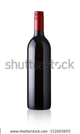 Red wine bottle - no label Isolated on white background