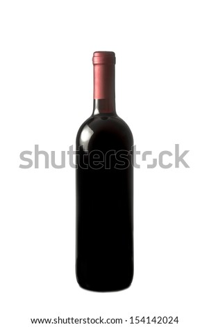 red wine bottle over white background - stock photo