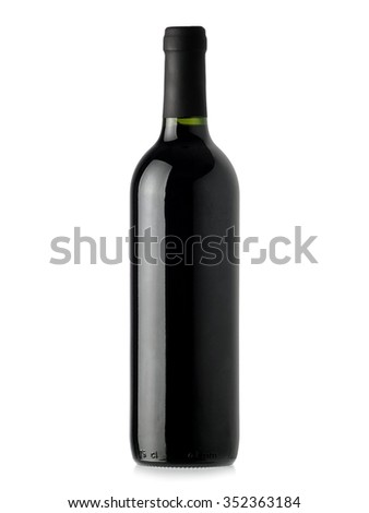 Red wine bottle with black cap