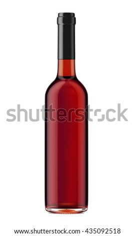 Red wine bottle with black plug isolated on white background. 3D Mock up for your design. - stock photo