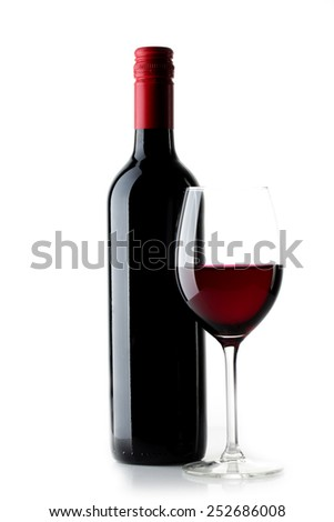 Red wine bottle with  glass on  white  background - stock photo