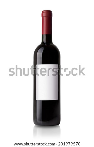 red wine bottle with label isolated on white background - stock photo