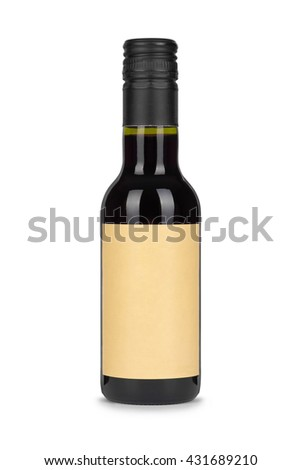 Red wine bottle, with paper blank label isolated on white background  - stock photo