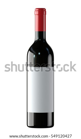 Red Wine bottle with white label. 3D render, isolated on white background.