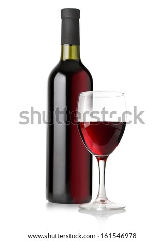 red wine bottles and glass on white background - stock photo