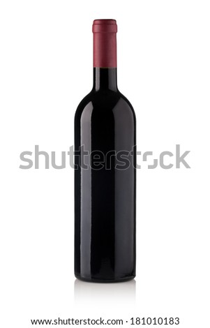 red wine bottles isolated on white background