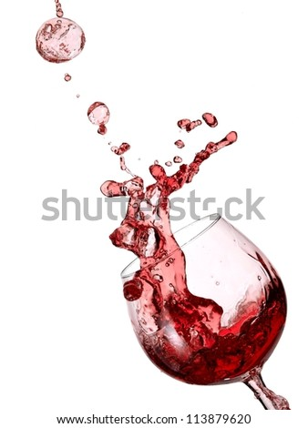 Red wine bubble up - stock photo