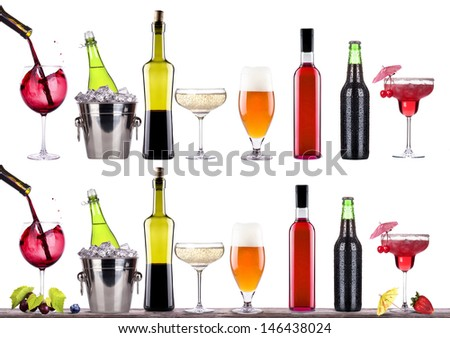 red wine, champagne,beer,alcohol cocktail  with corkscrew,grape,Blue berrie, ice bucket on a vintage wooden table isolated