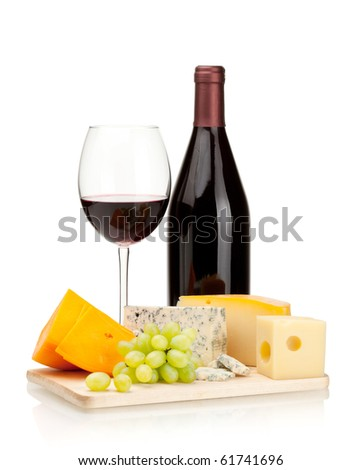 Red wine, cheese and grapes. Isolated on white