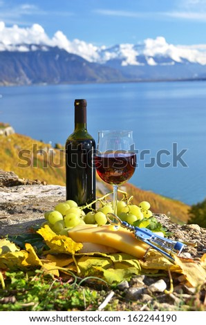 Red wine, cheese and grapes on the terrace of vineyard in Lavaux region, Switzerland