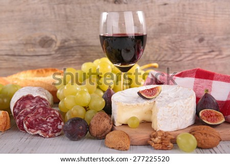 red wine,cheese,bread and sausage
