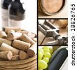 Red wine, corks and old corkscrew - stock photo