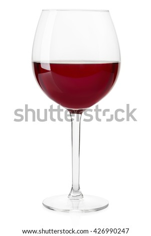 Red wine crystal glass isolated on white, clipping path