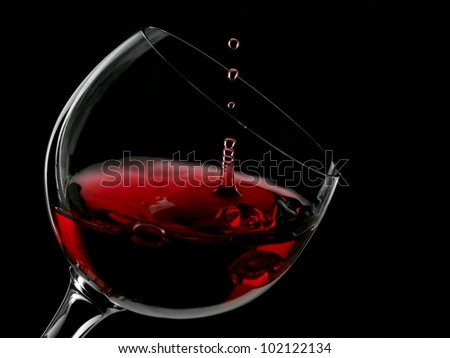 Red wine drop in a glass