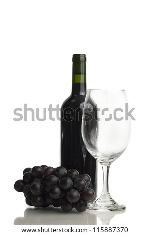 Red wine, glass and grape isolated on white background - stock photo