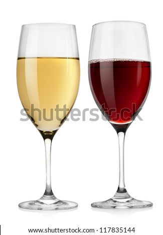 Red wine glass and white wine glass  isolated on a white background - stock photo