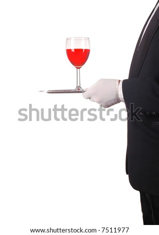 Red Wine Glass Being Served by Waiter on Silver Tray isolated over white - stock photo