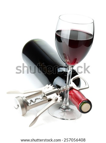 Red wine glass, bottle and corkscrew. Isolated on white background - stock photo