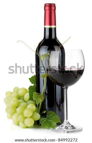 Red wine glass, bottle and grapes. Isolated on white background - stock photo