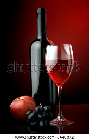 red wine glass bottle apple grape - stock photo