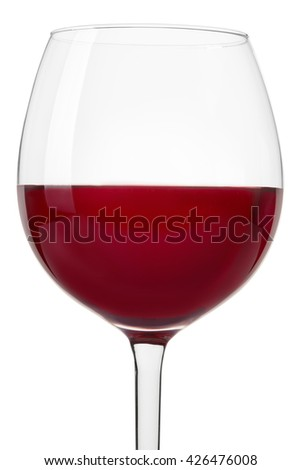 Red wine glass close up isolated on white, clipping path - stock photo