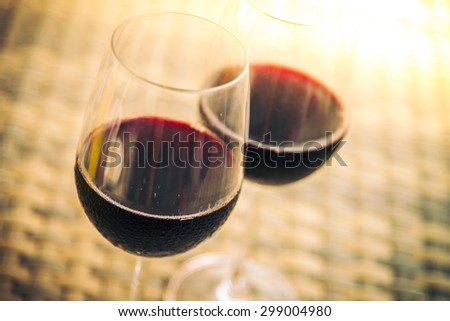 Red Wine glass for dinner - vintage filter - stock photo