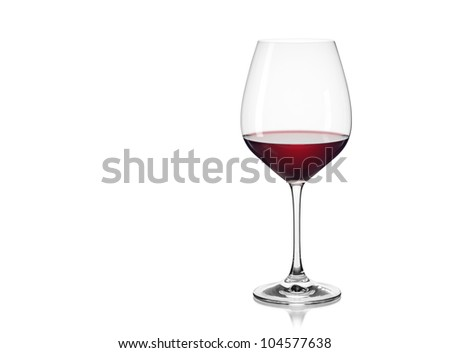 Red wine glass isolated on a white background - stock photo