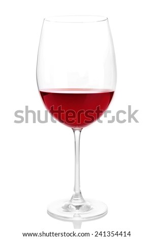 Red wine glass of wine isolated on white - stock photo