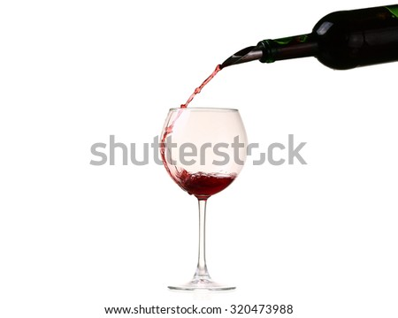 red wine glass on a white background, splash, pouring. Wine collection - Splashing red wine in a glass. Isolated on white background and pourer