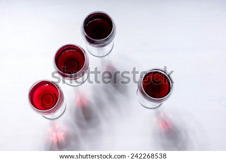 Red wine glass view above - stock photo
