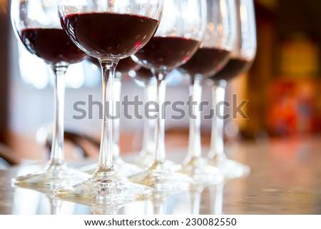 Red wine Glasses for wine tasting - stock photo