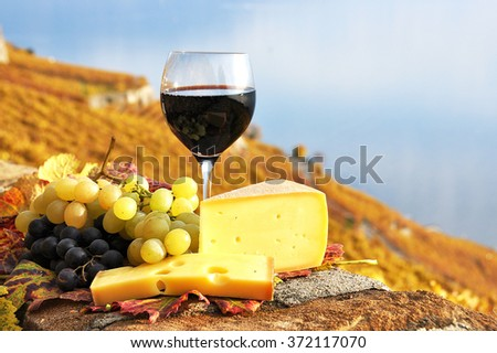 Red wine, grapes and chesse on the terrace vineyard in Lavaux region, Switzerland - stock photo