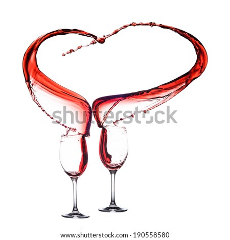 Red Wine heart in two - stock photo