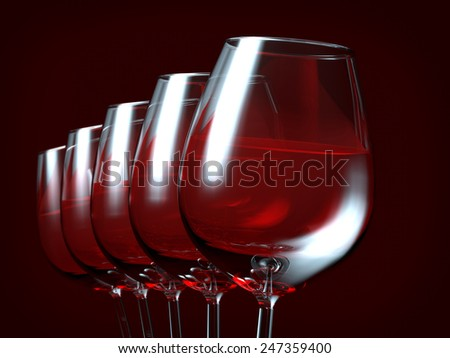 Red wine in a glass - stock photo