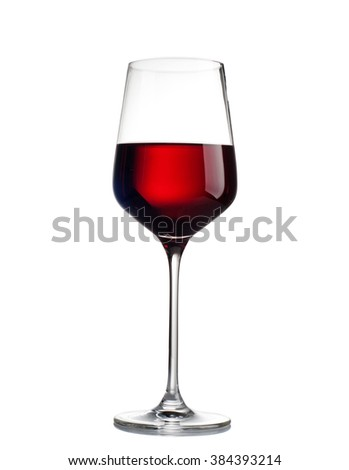 Red wine in a glass isolated on white background - stock photo