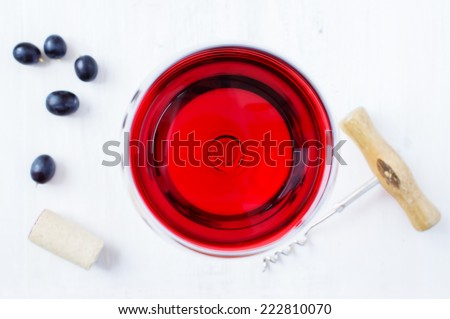 Red wine in a glass top view - stock photo