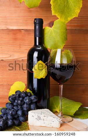 Red wine in bottle and glass with cheese, sausage and blue grape snack